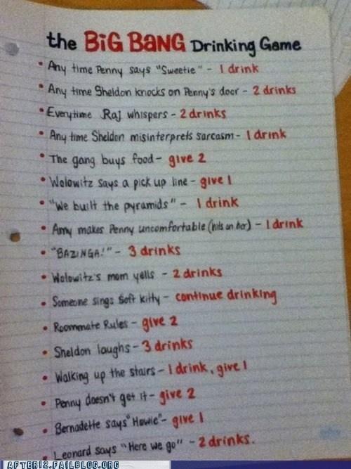 Big Bang Theory drinking game: Drinking Games, Bigbangtheori, Bangs Drinks, Drinks Games, Menu, Theory Drinks, Big Bangs Theory, Funny, Plays