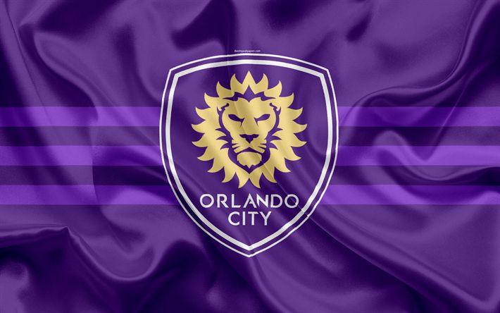 Download imagens Orlando City FC, Clube De Futebol, Americano Futebol Clube, MLS, EUA, Major League Soccer, emblema, logo, seda bandeira, Orlando, futebol