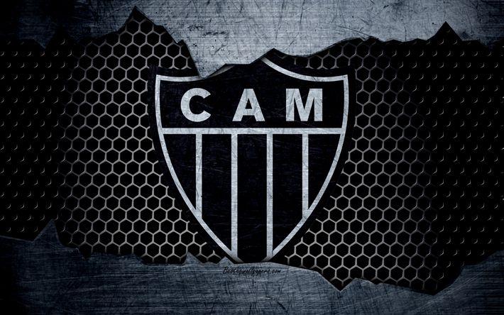 壁紙をダウンロードする Atletico Mineiro, 4k, エクストリーム-ゾー, ロゴ, グランジ, ブラジル, サッカー, サッカークラブ, 金属の質感, 美術, Atletico Mineiro FC