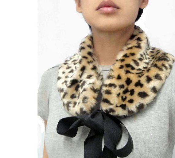 Leopard Print Faux Fur Scarf/Collar