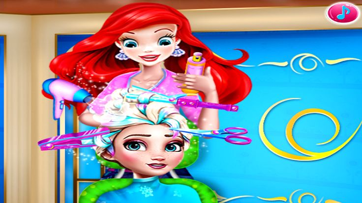 In Elsa Braided Hairstyle, Elsa visited Ariel's hair salon. She wants to try something new and Ariel suggested the braided hair style with a colorful twist. Follow the instructions and help Ariel use the hair dressing tools to give Elsa a new fun look. Have a nice time playing with Elsa and Ariel!