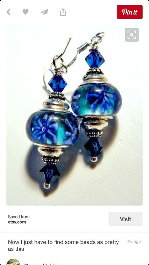 Blue lampwork earrings     Great repurpose of those large-holed European beads (for Pandora bracelets and the like)!
