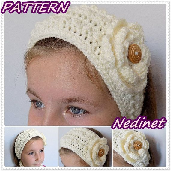 Crochet Headband Ear Warmer with Flower Woman by NedinetPattern