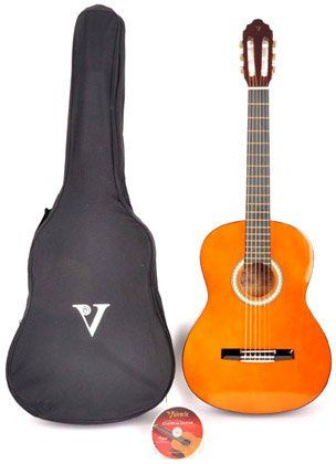 Black Friday Valencia Classical Kit 1 3/4 Size Left Handed Classical Acoustic Guitar Package from Valencia