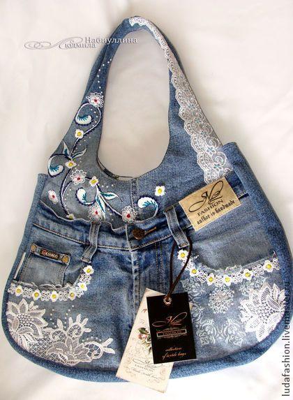 Джинс - романтик - синий,джинсовый стиль,сумка,дизайнерская работа,джинсовая сумка