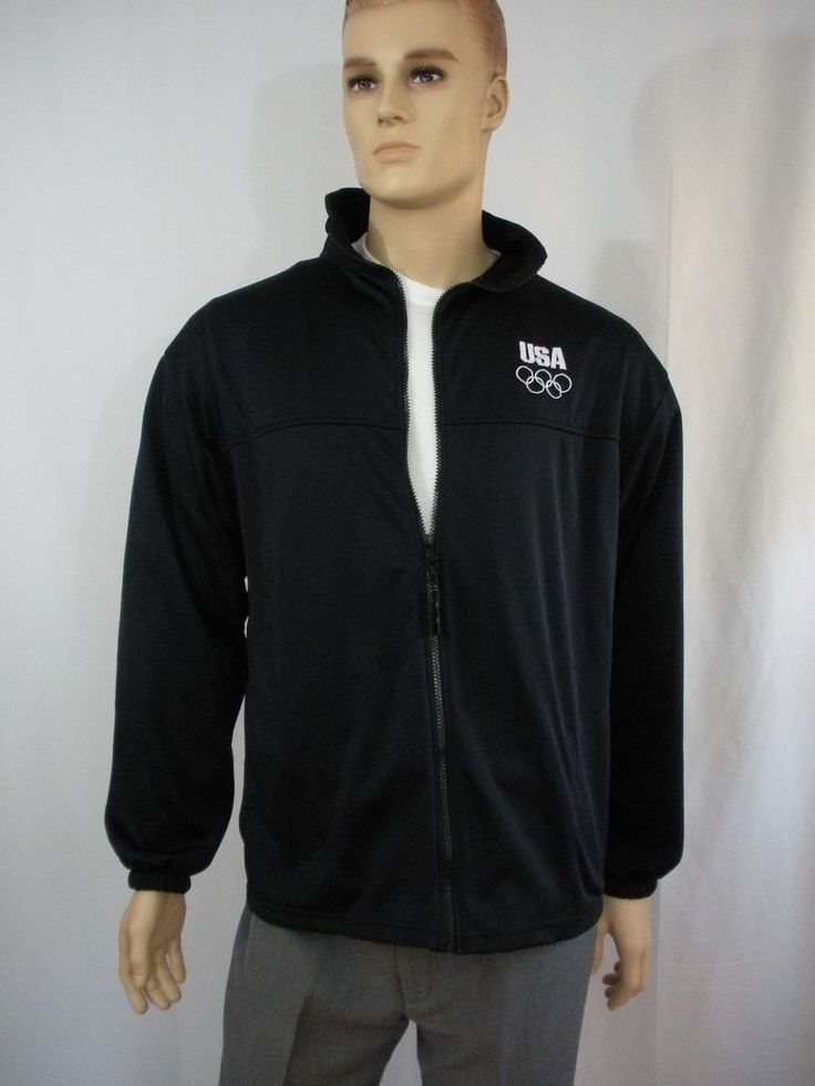 XL Unisex Team Jacket US Olympic Committee USOC Full Zip Front Black/Navy Blue #USOlympicCommittee