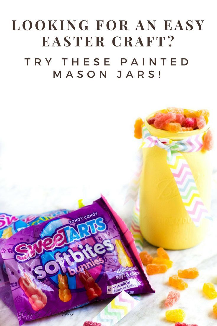 Hip hop hooray, these Easter Painted Mason Jars featuring @SweeTARTS Soft Bites Bunnies are perfect for your Easter baskets. And they're adorable and easy to make!  #ad