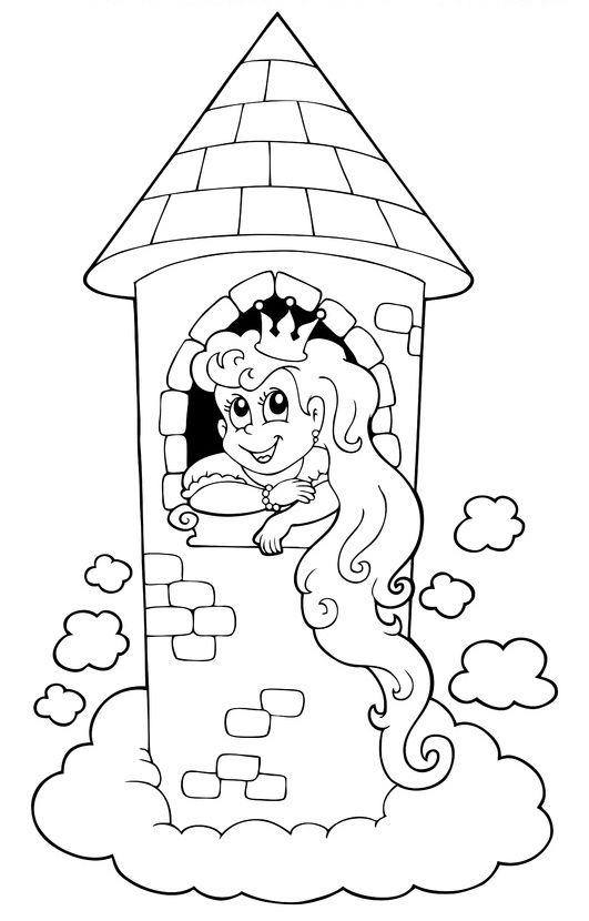 Ausmalbild Märchen: Ausmalbild: Rapunzel im Turm kostenlos