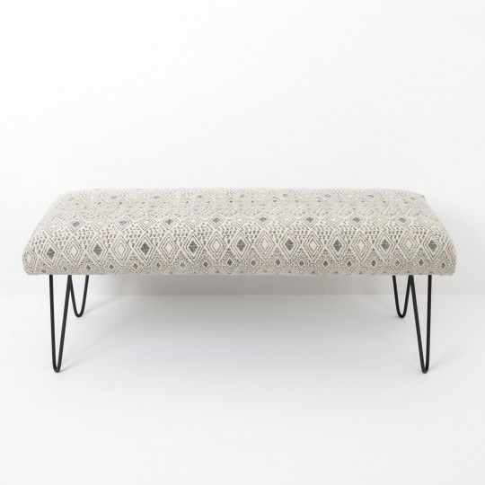 Made in Jaipur, synonymous with the textile industry of India. Traditional hand block design are used to make our Khanda collection. This bench has a black monochrome geometric pattern on a pale stone-wash cotton with modern metal hairpin design legs. Match with our Akriti collection.