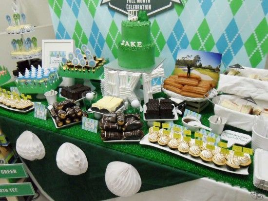 golf baby shower dessert table and decorations