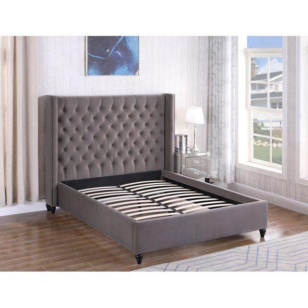 Treva Tufted Upholstered Platform Bed Upholstered Platform Bed King Upholstered Bed Grey Bedroom Furniture Bed frame and headboard set