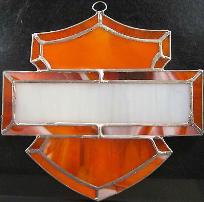Harley Davidson Stained Glass Window Shield Orange & Black 6 1/4 X ...