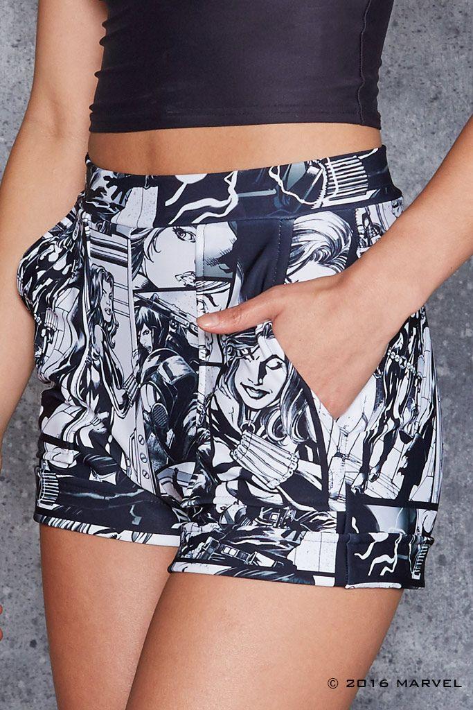 Black Widow Comic Cuffed Shorts - 48HR ($80AUD) by BlackMilk Clothing