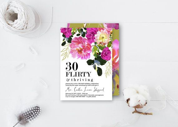 Bold & Beautiful 30th birthday party invitation by bellaloveletters on Etsy