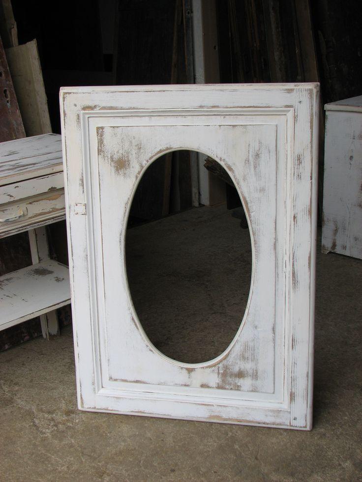 Cadre shabby chic de forme ovale dimensions 100 cm x 90 for Miroir forme originale