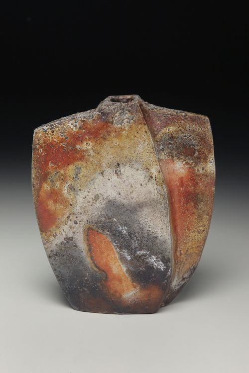 "Eric Knoche, Vessel, Wood fired indigenous stoneware with slip,  9"" x 8"" x 3"", 2011"