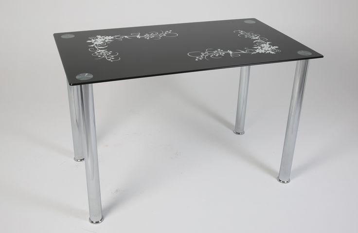 Ürün Kodu: 129 Siyah Papatya (İsteğe göre farklı renkler yapılabilmektedir) Glass Table - Cam Masa - Furniture - Mobilya