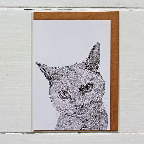 Beautifully designed greetings card by Ros Shiers, featuring Thelma The Grey Cat.