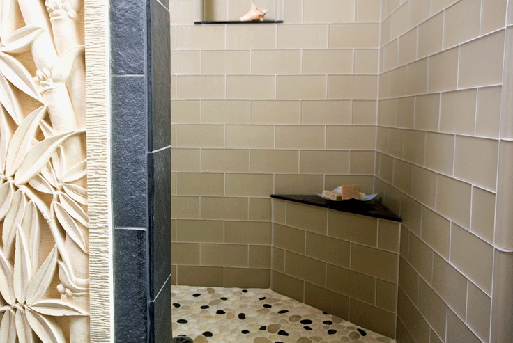 Island Stone USA Frosted Glass Tile Pebble Tile Shower