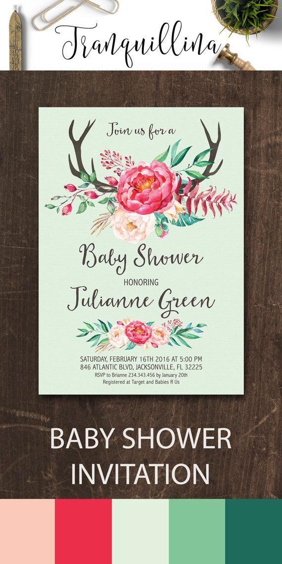 Girl Baby Shower Invitation Printable, Floral Baby Shower Invitation, Peony Baby…