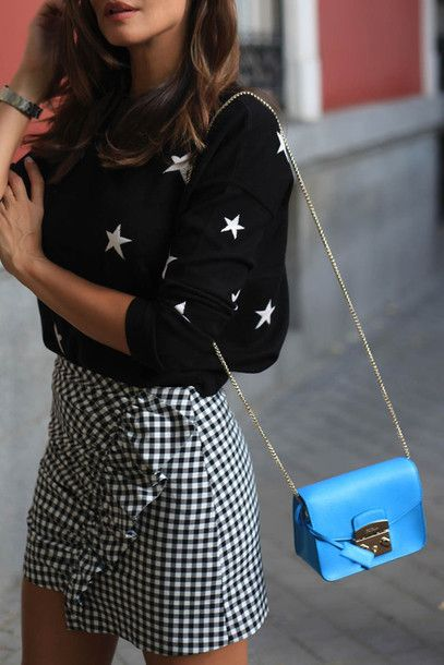 Top: tumblr stars black bag chain bag blue bag skirt mini skirt ruffle checkered skirt checkered