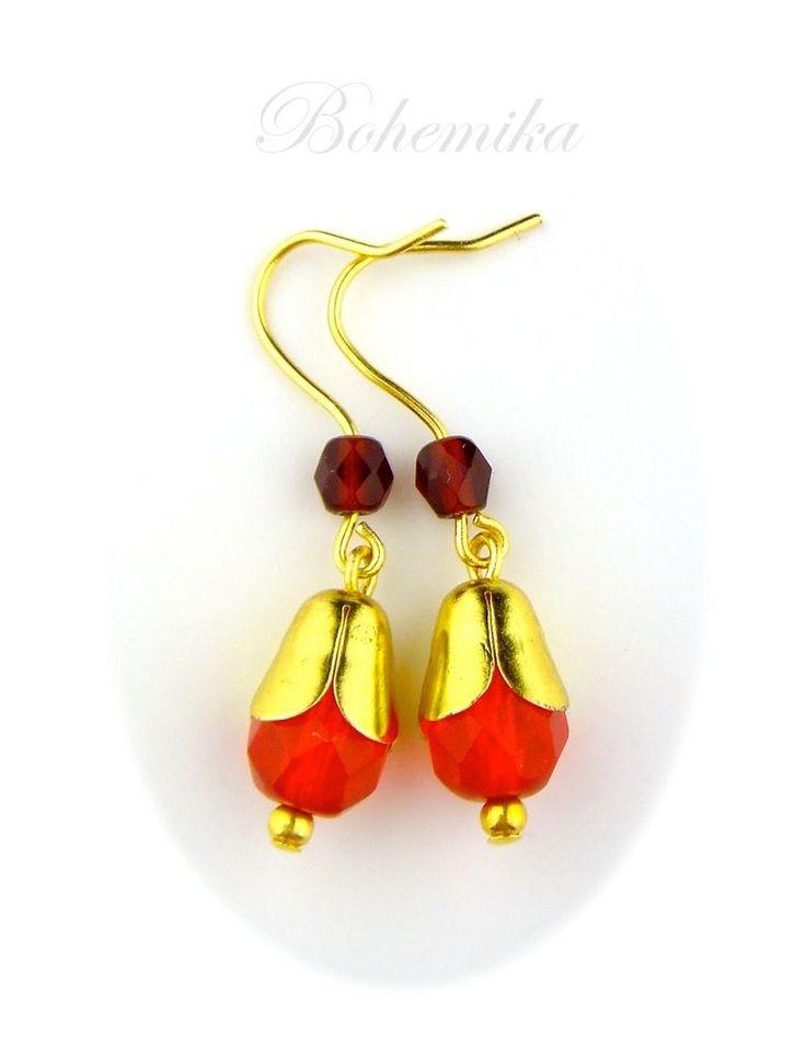 Vintage Original Czech Glass Earrings Gold Tone Dangle Drop Small Bud RED #DropDangle
