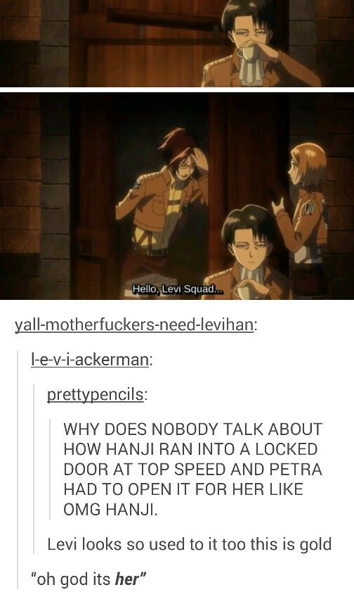 And Levi looks so done with Hanji