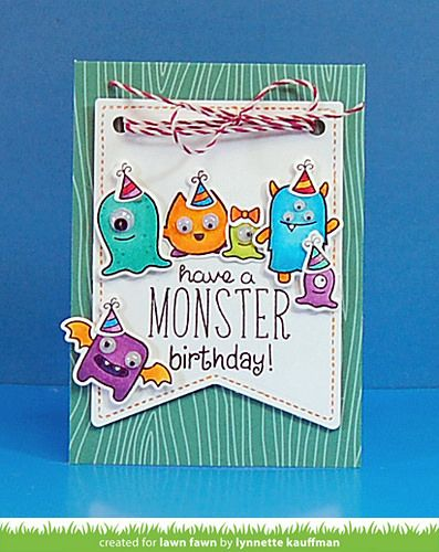 Lawn Fawn - Monster Mash + coordinating dies, Stitched Party Banners Lawn Cuts die, Violet's ABCs, Year Three, Spruce Notecard, Peppermint Lawn Trimmings _ card by Lynnette for Lawn Fawn Design Team