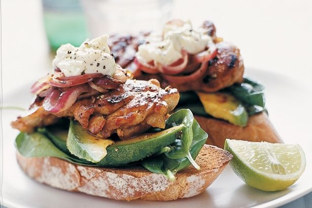 Chilli chicken and lime mayonnaise open sandwich. Hmmm, leave off bread for a low carb lettuce wrap