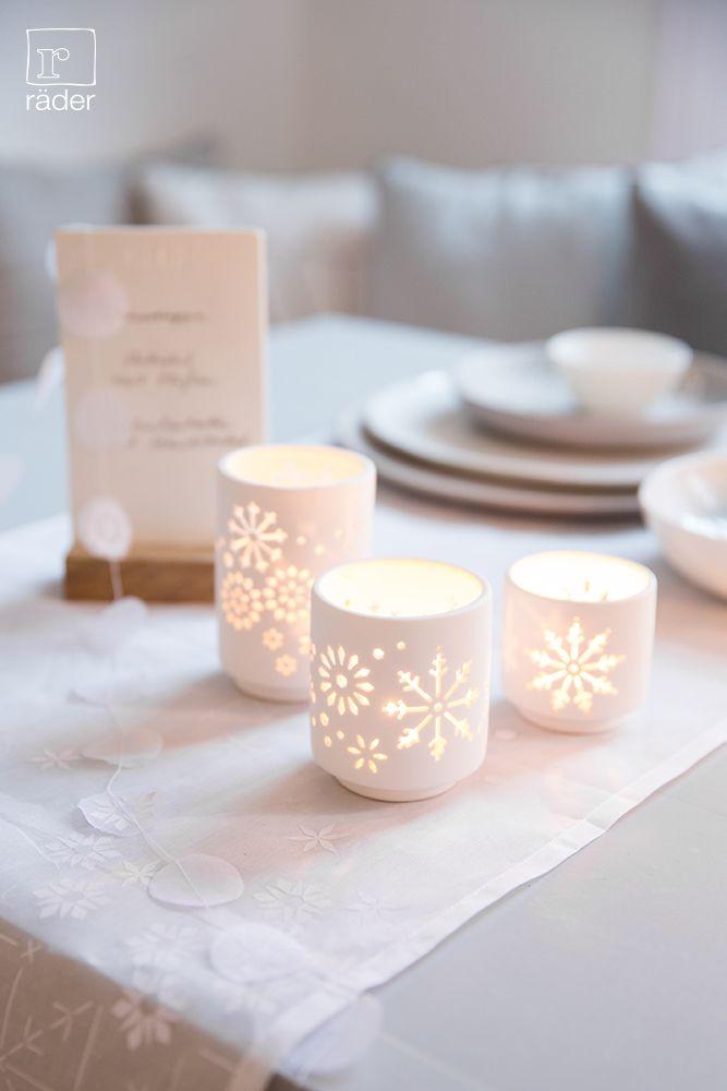 Für eine stimmungsvolle Weihnachtszeit. räder Lichter aus Porzellan, unglasiert.