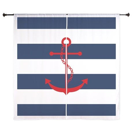 Red Anchor on Blue Stripes Curtains on CafePress.com