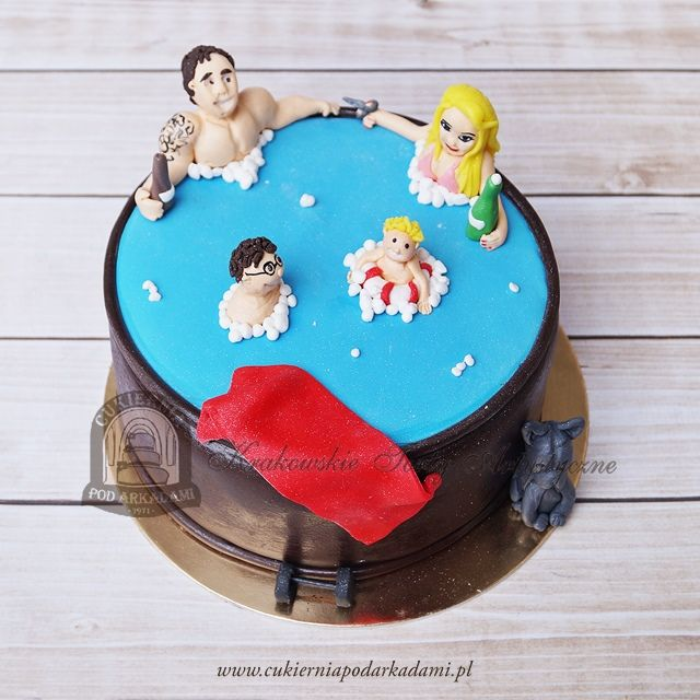 120BA Tort rodzinka w basenie. Family with kids in swimming pool cake.