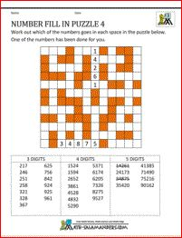 math puzzles printable number fill in puzzle 4