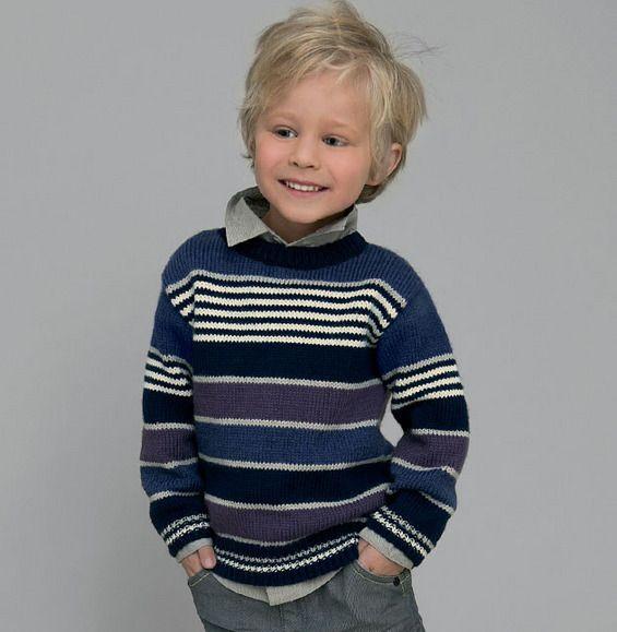 Un pull rayé pour un look faussement sage!Pull pour enfant de 2 à 10 ans, tricoté en ' laine partner 3.5 ' aux coloris MURE, MARINE, NAVAL, BRUME, et ECRU.Modèle tricot n°7 du catalogue 92 : Spécial qualité partner