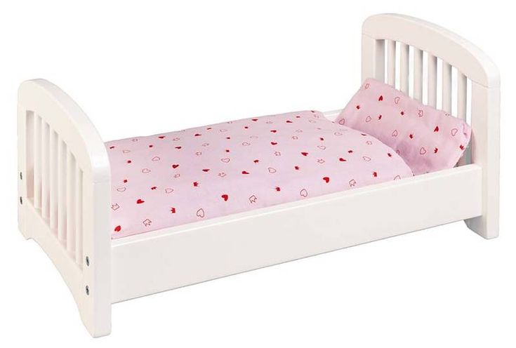 Dřevěný nábytek pro panenky | Bílá dřevěná postel pro panenky | Dřevěné domečky pro panenky, dřevěné hračky, dětské dřevěné kuchyňky, dřevěné vláčkodráhy, dřevěné dětské nářadí a vše, co ke hraní patří