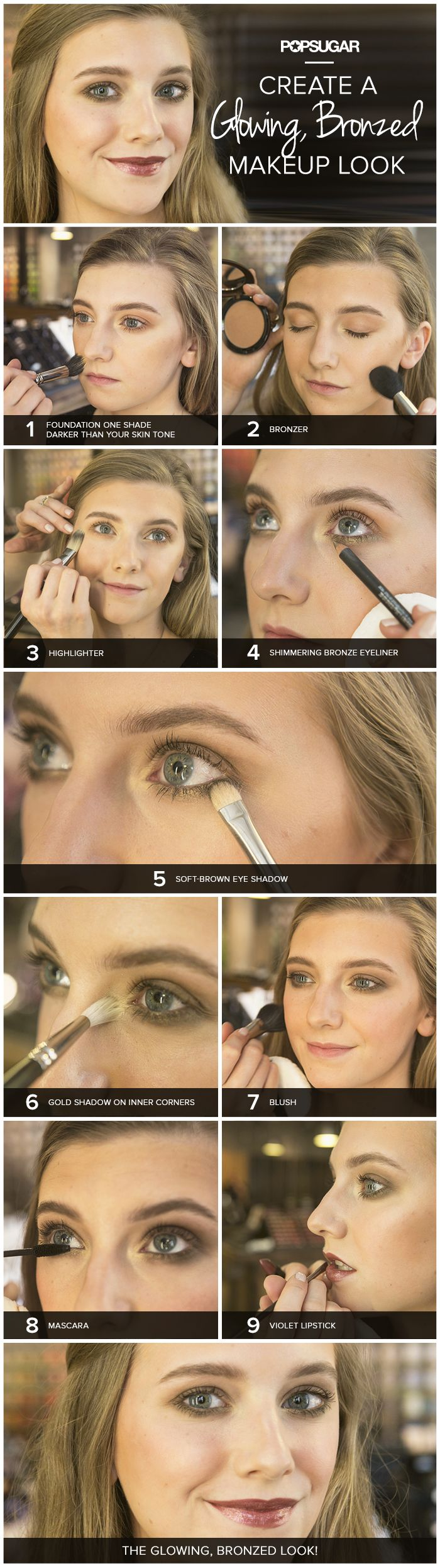 How to create a glowing bronzed makeup look. To transform this look to summer, just dust a lighter, pinky blush and a bright pop of color on the lips! Also, try to not to use too much under eye liner, because summer means sweat and raccoon eyes are a big no no! But, if you truly must apply a lot, then be sure to use a makeup setting spray after you've done your makeup!