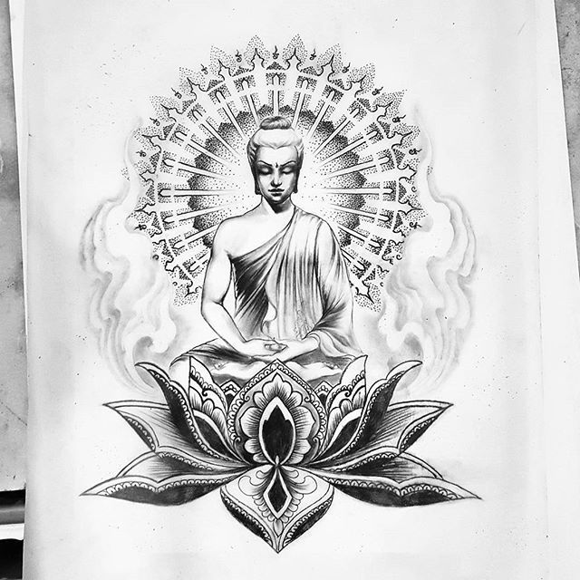 By @marinakraniumtattoo  #tattoo #ink #tattoosketch #drawing #blackandgrey #buddha #buddatattoo #lotus