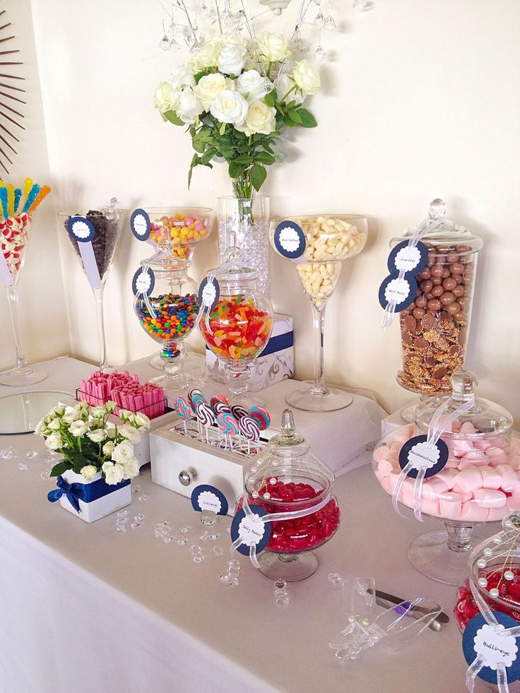 Wedding Candy table with bride's fav selection of goodies.