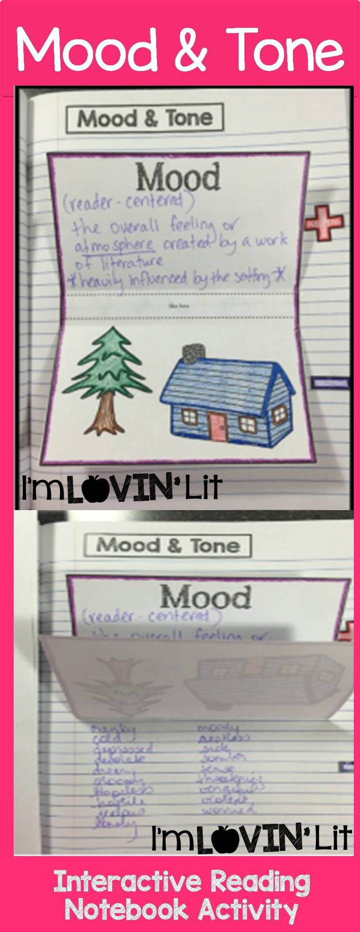 Mood and Tone Foldable, Mood and Tone Interactive Notebook Activity by Lovin' Lit from the ALL NEW Interactive Reading Literature Notebooks, Part 2