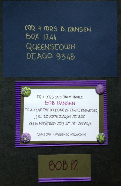 Wedding invitations and place cards to match.