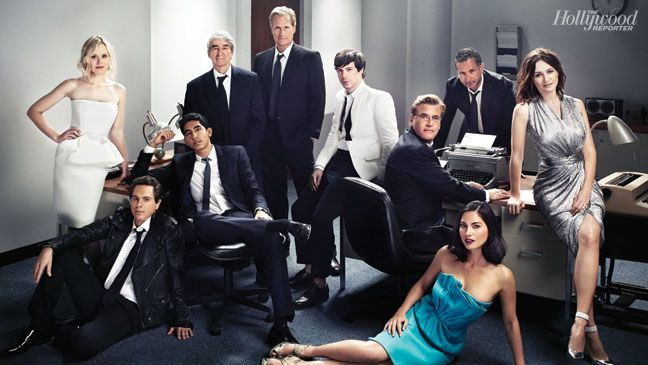 'The Newsroom': Exclusive Photos of Aaron Sorkin and the HBO Cast From left: Alison Pill, Thomas Sadoski, Dev Patel, Sam Waterston, Jeff Daniels, John Gallagher Jr., Sorkin, Olivia Munn, executive producer Alan Poul and Emily Mortimer were photographed May 8 at Siren Studios in Hollywood.