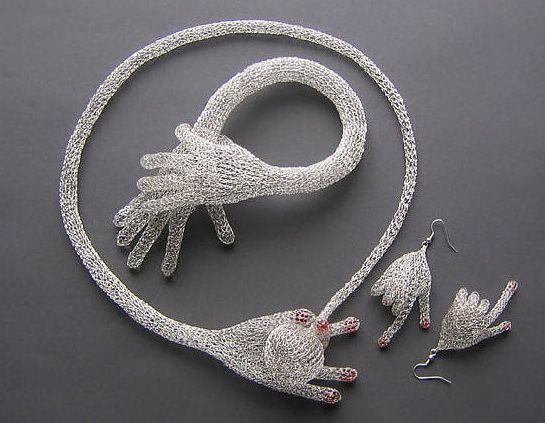 "Blanka Šperková - ""hands set"" splendid finger-knit (!) wire jewelry. More at http://amanita-design.net/blankasperkova/"