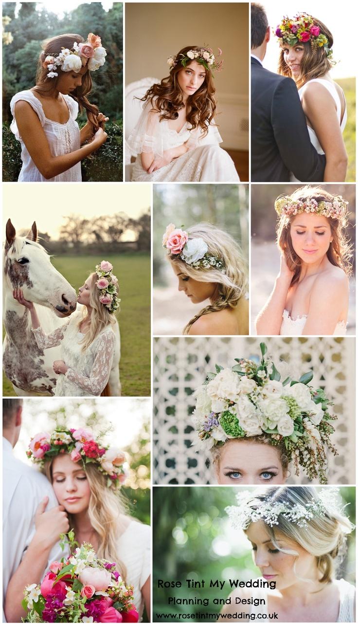 Flower crowns for wedding day. Visit www.rosetintmywedding.co.uk for bespoke wedding planning and design. #flowercrowns #weddinghair