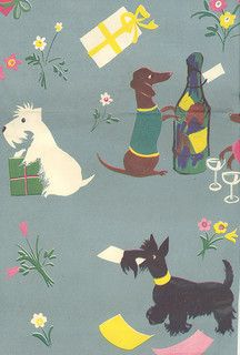 Vintage Wrapping Paper with Dogs