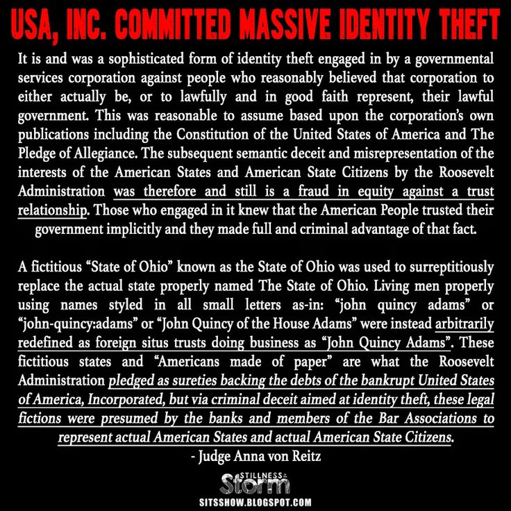 Stillness in the Storm : USA, Inc. Committed Massive Identity Theft | Trust Law Understood - Open Letter to U.S. Treasury Secretary Lew — from Anna von Reitz