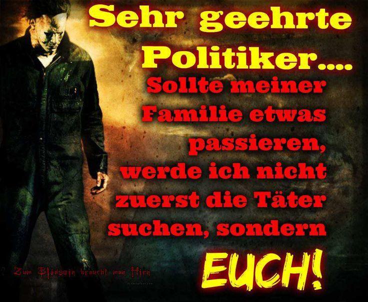 Sehr geehrte Politiker, sollte meiner Familie etwas passieren, werde ich nicht zuerst die Täter suchen, sondern EUCH!!!