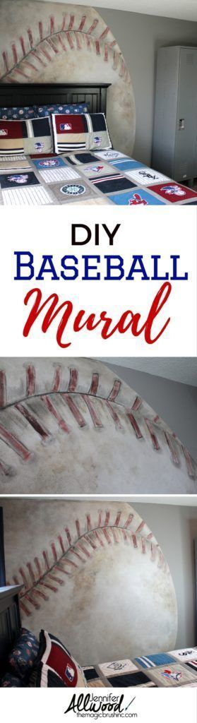 Baseball Mural - The Magic Brush Inc | Jennifer Allwood | Decorative painter | DIY | Business coach #BaseballBoys