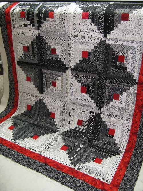 """~ A BEAUTIFUL BLACK AND WHITE """"LOG CABIN"""" QUILT – by Dee Locke ~"""
