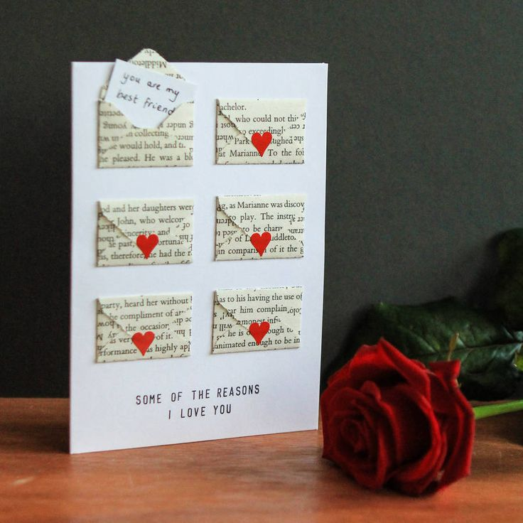 Greetings card made with six mini envelopes.The mini envelopes are hand made from the pages of a Jane Austen novel - one of our favourites, and perhaps the most romantic, Sense & Sensibility! They are attached to a greetings card and supplied with six blank mini notecards - so you can fill in six of the many reasons you love your other half! Comes with six mini heart stickers with which to seal your envelopes. Need some inspiration for your notes? How about: You're really kind You are my ...