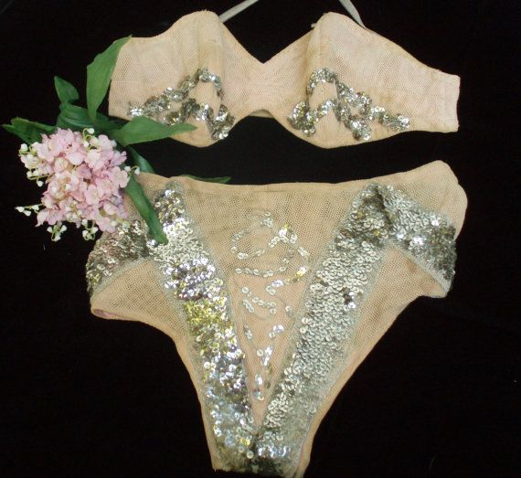 Vintage Burlesque 2 pc Costume w/ Sequins by ShopGlammasAttic, $35.00